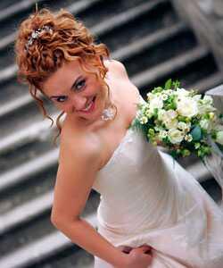 Home-made curly poročne pričeske